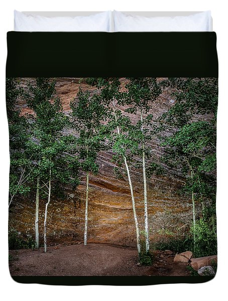 Red Rock Wall Duvet Cover