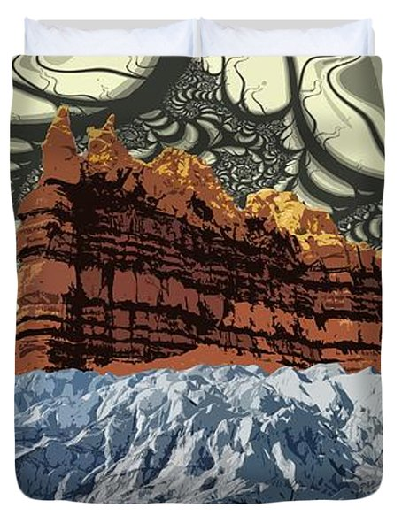 Red Rock White Ice Duvet Cover by Ron Bissett