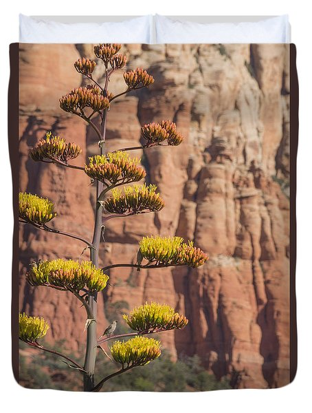 Red Rocks And Century Plant Duvet Cover