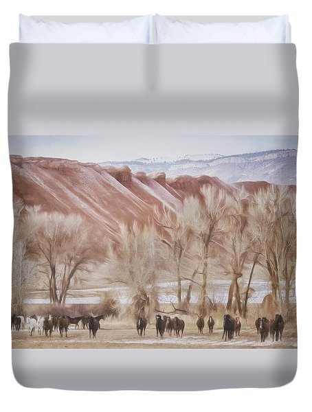 Red Rocks And Horses Duvet Cover