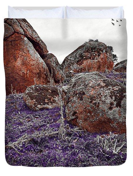 Red Rocks And Thunder Duvet Cover