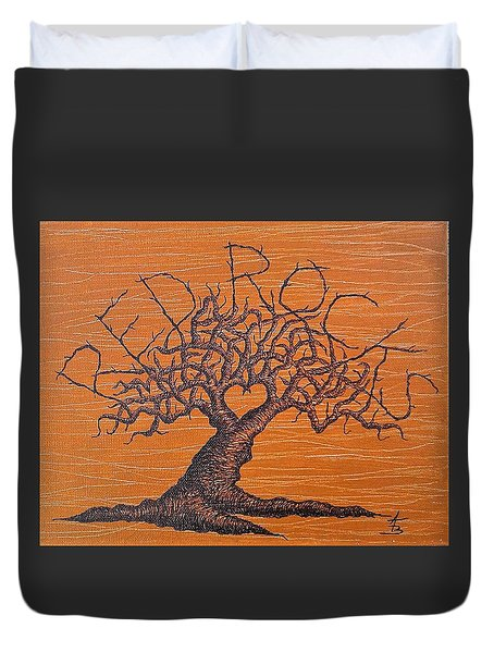 Duvet Cover featuring the drawing Red Rocks Love Tree by Aaron Bombalicki
