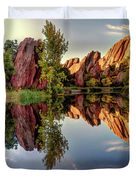 Red Rocks Reflection Duvet Cover
