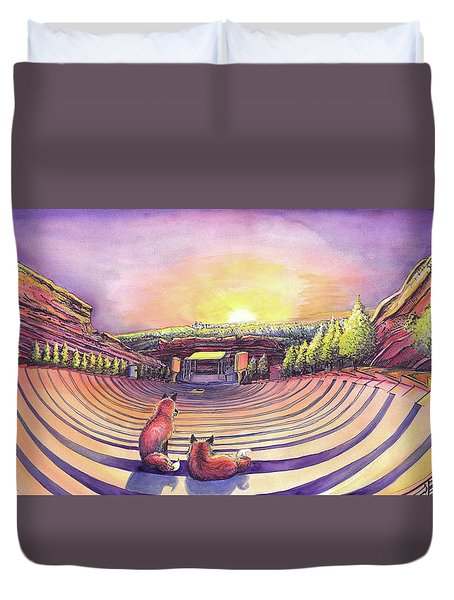 Duvet Cover featuring the painting Red Rocks Sunrise by David Sockrider