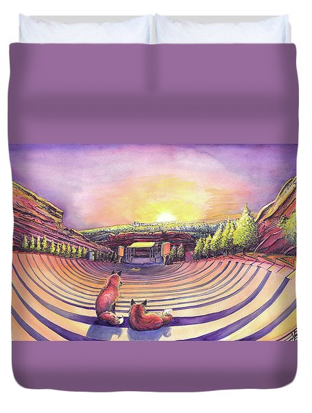 Foxes At Red Rocks Sunrise Duvet Cover