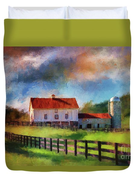 Duvet Cover featuring the digital art Red Roof Barn by Lois Bryan