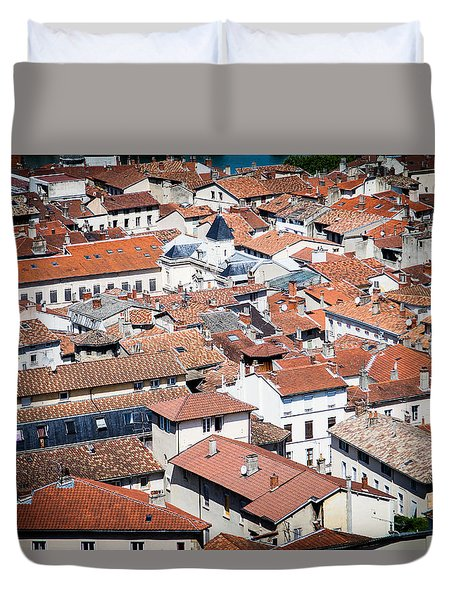 Duvet Cover featuring the photograph Red Roof by Jason Smith