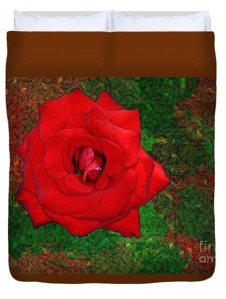 Red Rose 2 Duvet Cover by Jean Bernard Roussilhe