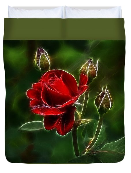 Red Rose And Buds Duvet Cover
