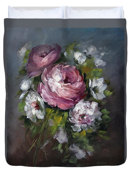 Red Rose And White Peony Duvet Cover by David Jansen