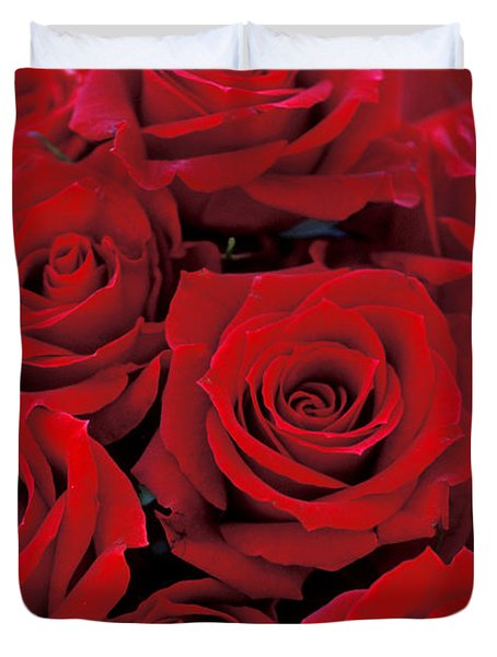 Red Rose Bouquet Duvet Cover by Kathy Yates