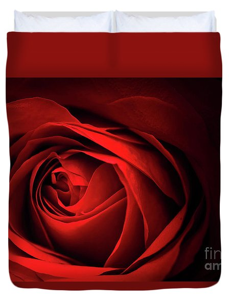 Duvet Cover featuring the photograph Red Rose Close by Charline Xia