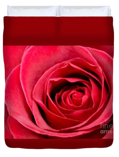 Duvet Cover featuring the photograph Red Rose by DJ Florek