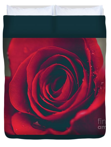 Duvet Cover featuring the photograph Red Rose Floral Bliss by Sharon Mau