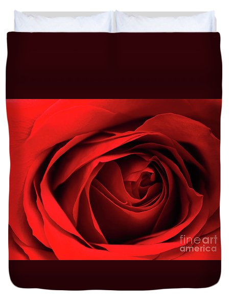 Duvet Cover featuring the photograph Red Rose Flower by Charline Xia