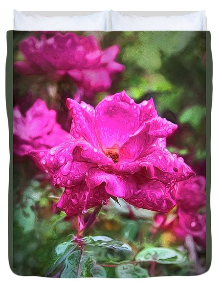 Duvet Cover featuring the photograph Red Rose Flower Painterly Finish by Richard Rizzo