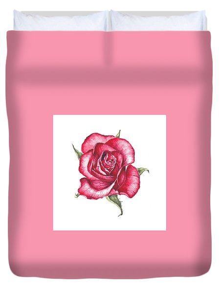 Duvet Cover featuring the painting Red Rose by Heidi Kriel
