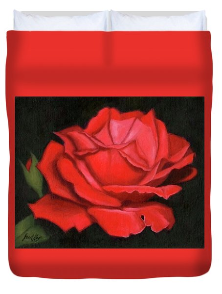 Duvet Cover featuring the painting Red Rose by Janet King