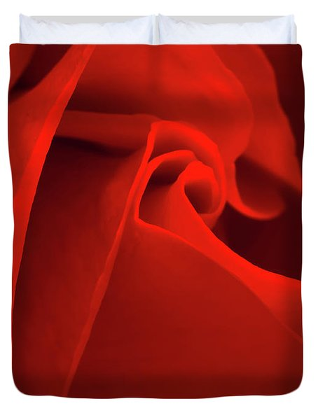 Red Rose Macro Duvet Cover