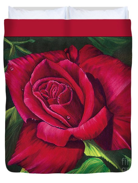 Red Rose Duvet Cover by Nancy Cupp