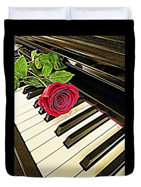 Red Rose On A Piano  Duvet Cover