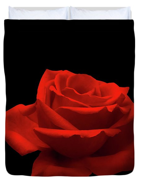 Red Rose On Black Duvet Cover