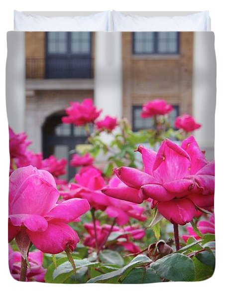 Duvet Cover featuring the photograph Red Rose Plants by Richard Rizzo