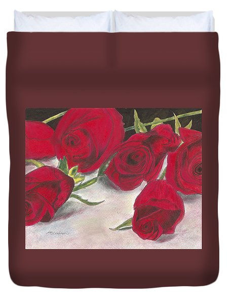 Duvet Cover featuring the drawing Red Rose Redux by Arlene Crafton