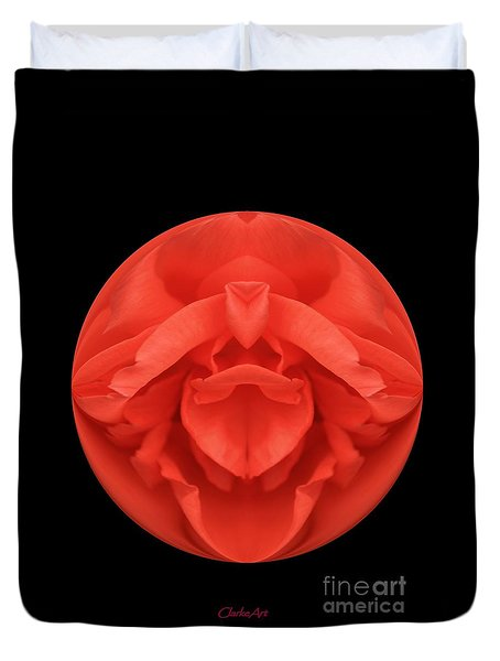 Red Rose Sphere Duvet Cover