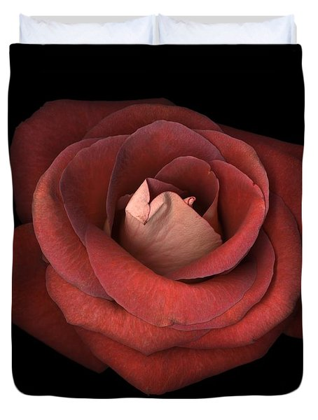 Duvet Cover featuring the photograph Red Rose by Test
