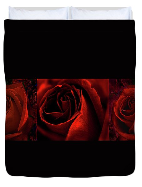 Red Rose Tryptych Duvet Cover