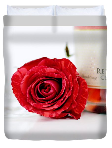 Red Rose With Champagne Duvet Cover