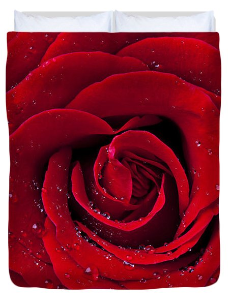Red Rose With Dew Duvet Cover