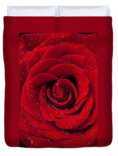 Red Rose With Dew Duvet Cover by Garry Gay