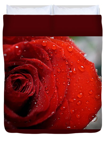 Red Rose With Rain Drops Duvet Cover