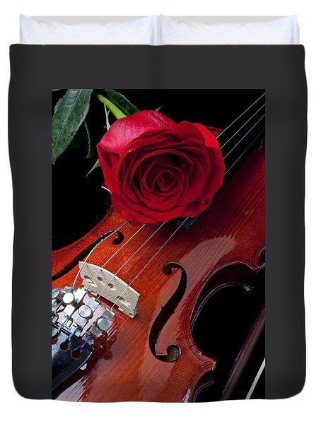 Red Rose With Violin Duvet Cover by Garry Gay