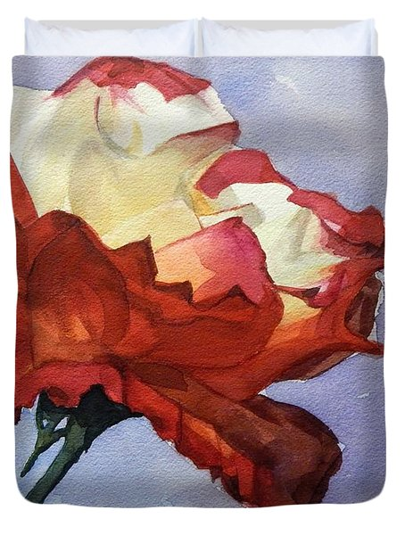 Watercolor Of A Red And White Rose On Blue Field Duvet Cover