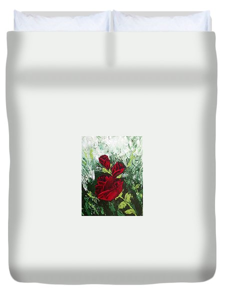 Red Roses In Bloom Duvet Cover by Roxy Rich