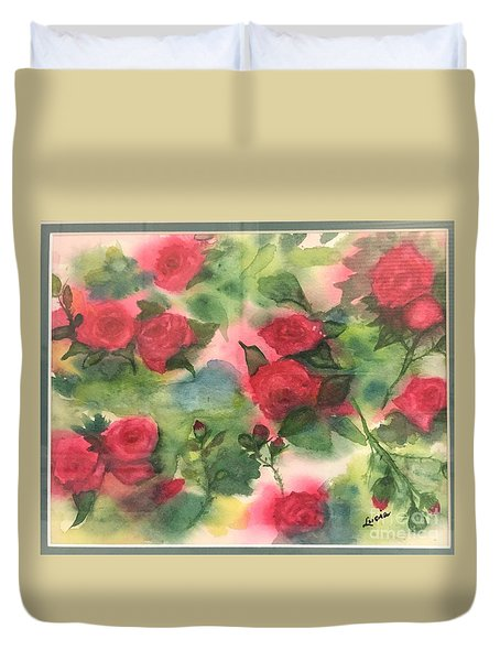 Duvet Cover featuring the painting Red Roses by Lucia Grilletto
