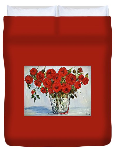 Red Roses Memories Duvet Cover