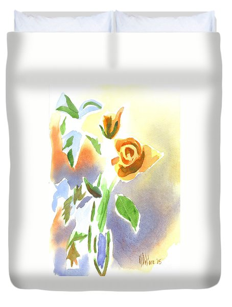 Duvet Cover featuring the painting Red Roses With Holly In A Vase by Kip DeVore