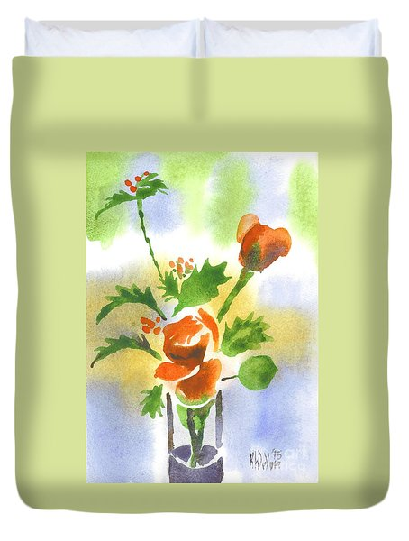 Duvet Cover featuring the painting Red Roses With Holly by Kip DeVore