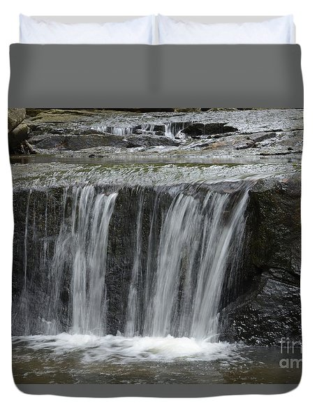 Red Run Waterfall Duvet Cover