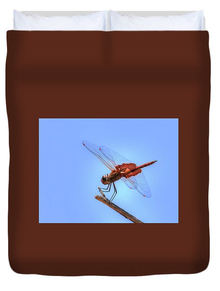 Red Saddlebag Dragonfly Duvet Cover