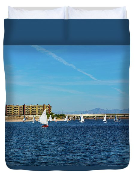 Red Sailboat In The Desert Duvet Cover