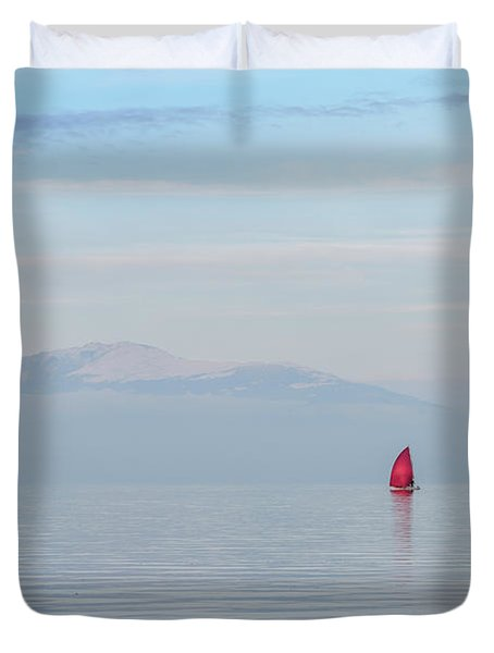 Red Sailboat On Lake Duvet Cover