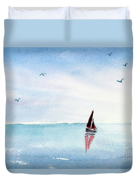 Red Sails On A Blue Sea Duvet Cover
