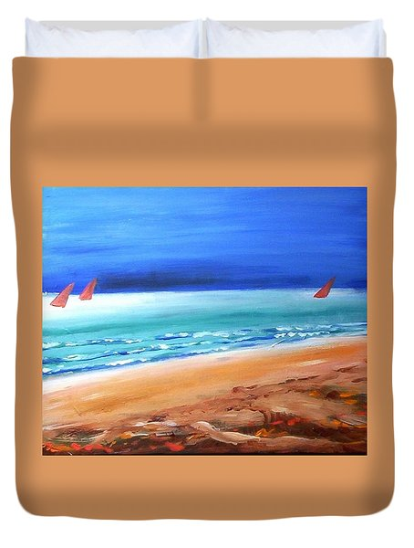 Duvet Cover featuring the painting Red Sails by Winsome Gunning