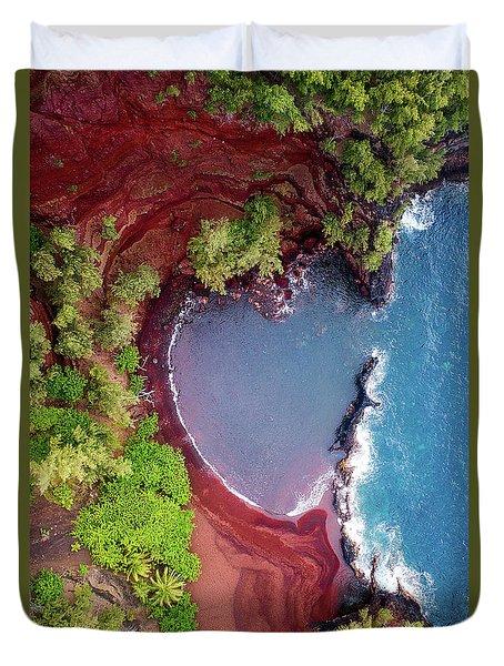 Red Sand Heart Duvet Cover