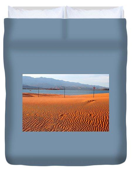 Red Sand Waves Duvet Cover
